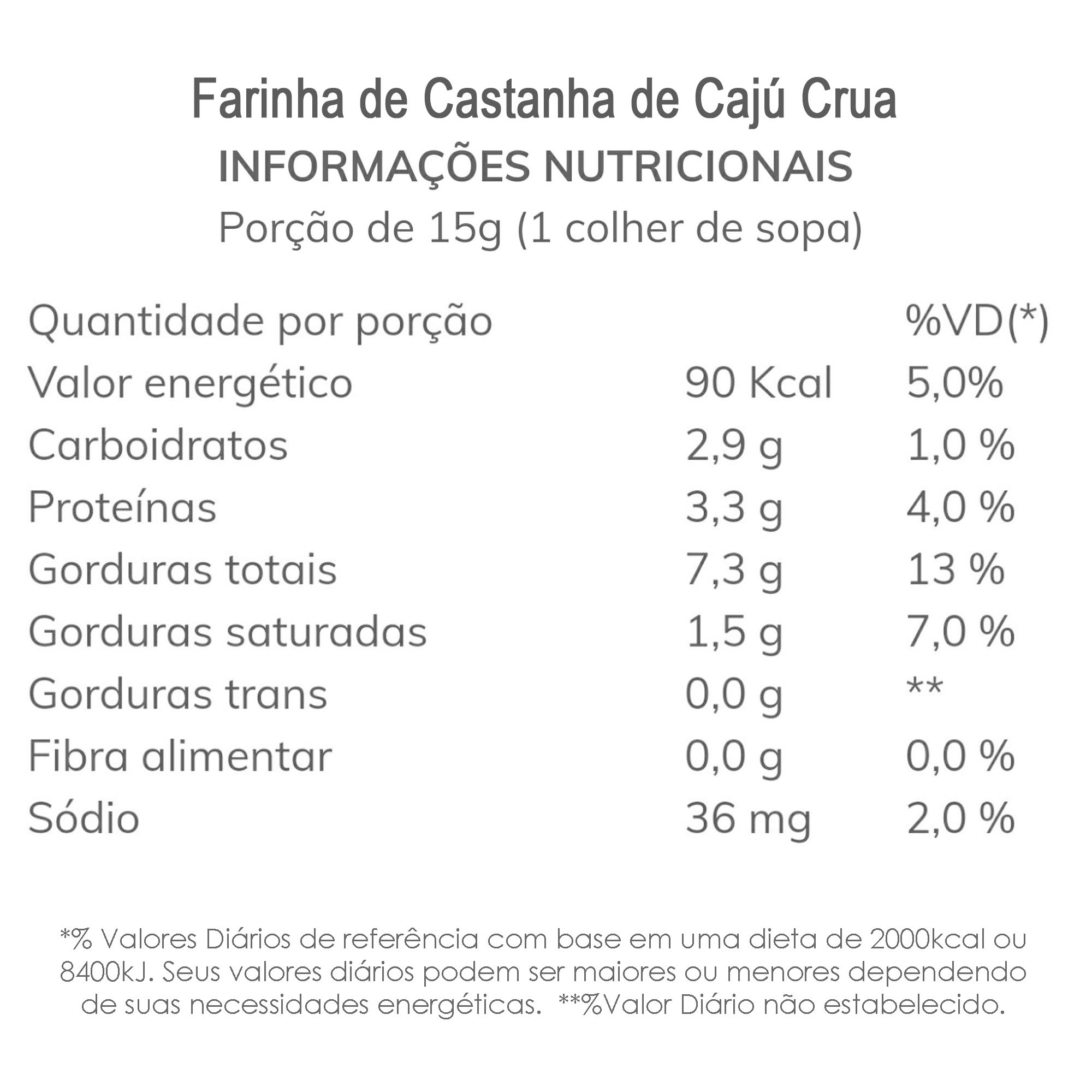 Farinha de Castanha de Cajú Crua (Natural) 1 Kg  - TLC Tudo Low Carb
