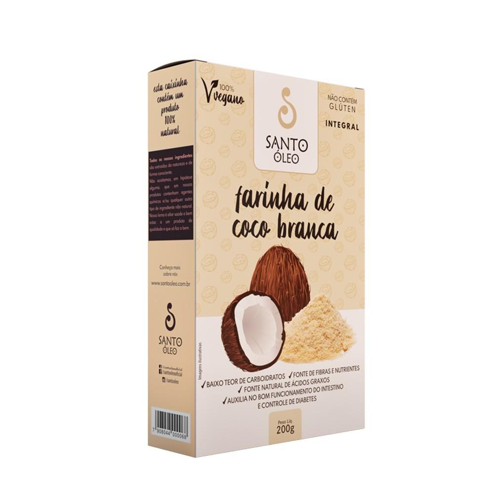 Farinha de Coco Branca Santo Óleo 200g  - Tudo Low Carb