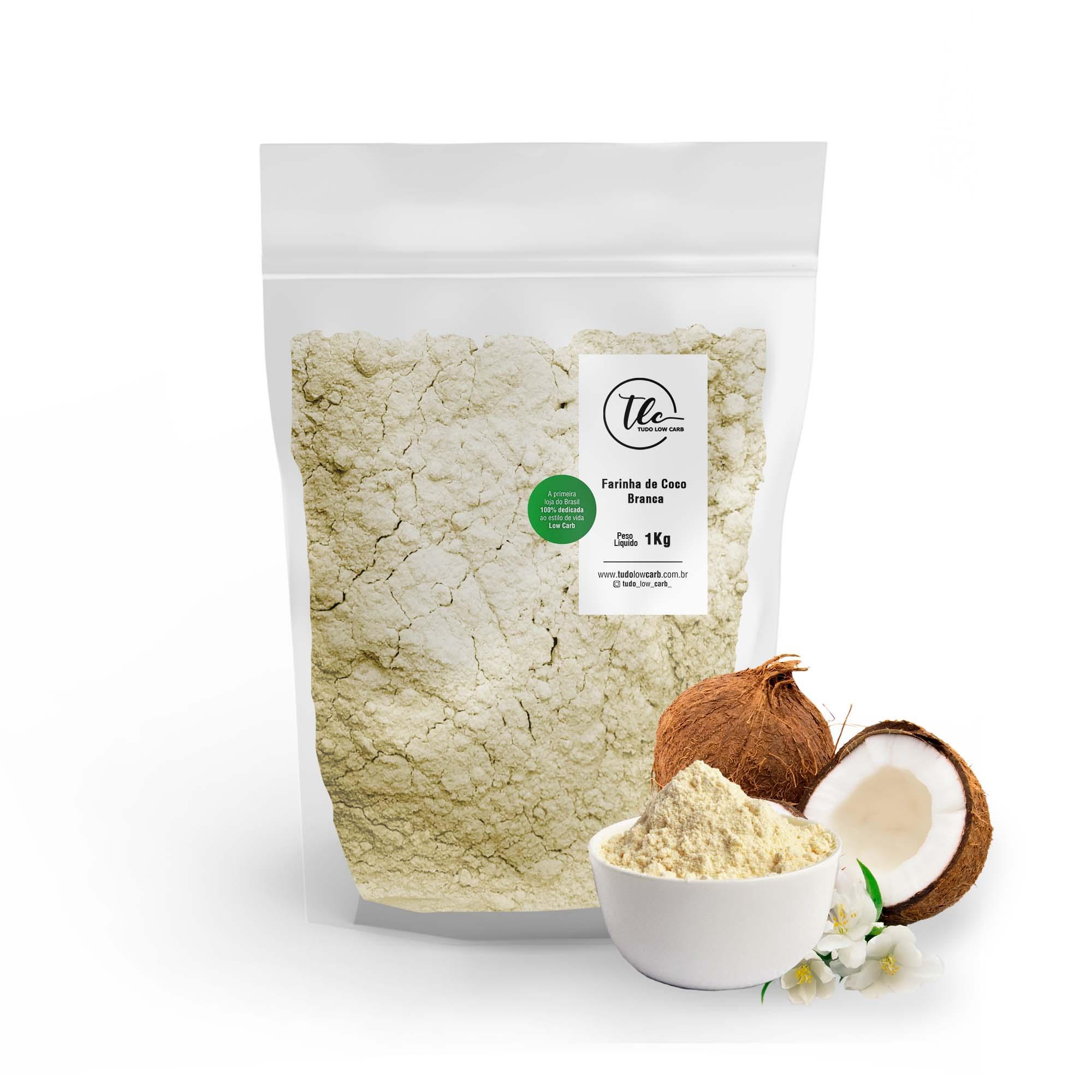 Farinha de Coco Branca - sem casca 1 kg  - TLC Tudo Low Carb