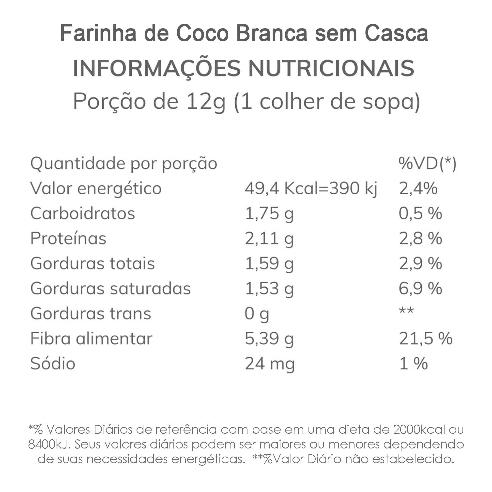 Farinha de Coco Branca - sem casca  - TLC Tudo Low Carb