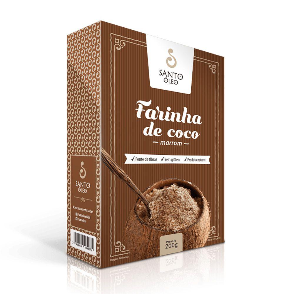 Farinha de Coco Marrom Santo Óleo 200g  - Tudo Low Carb