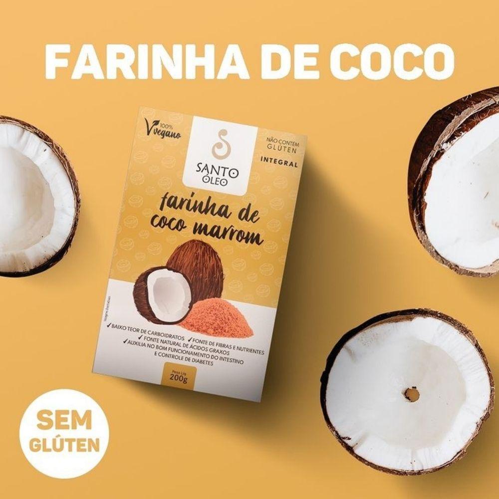 Farinha de Coco Marrom Santo Óleo 200g  - TLC Tudo Low Carb