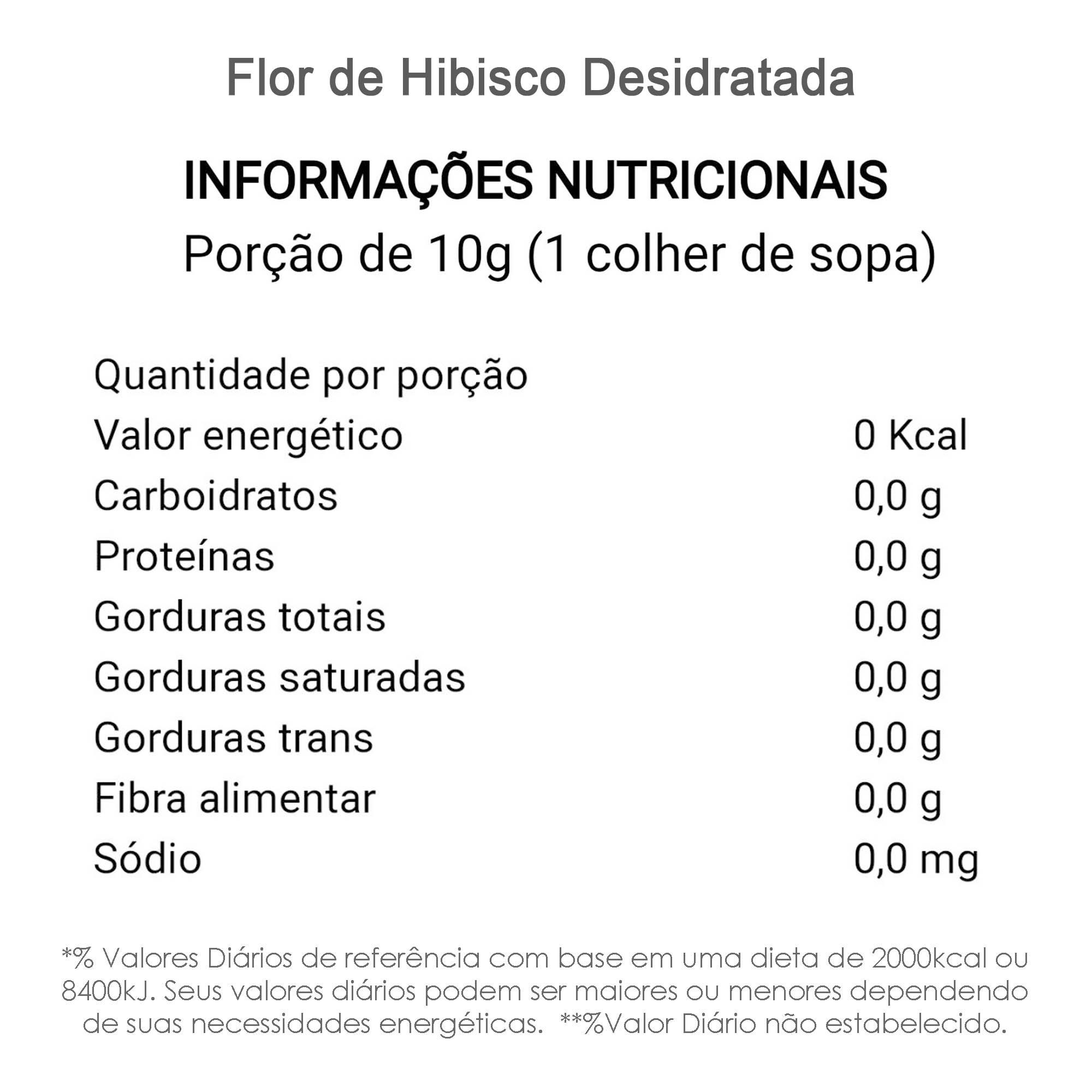 Flor de Hibisco Desidratada 100g  - TLC Tudo Low Carb
