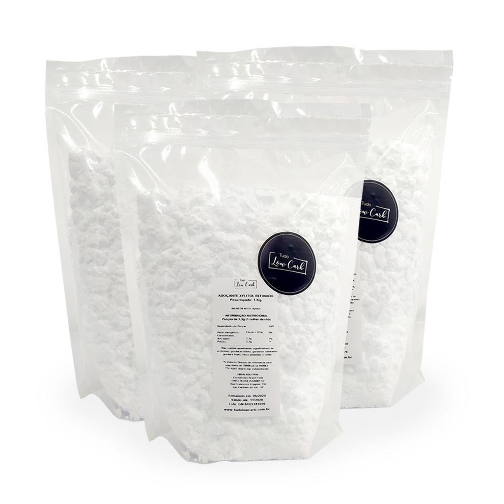Kit Adoçante Xylitol Refinado 3 Kg  - Tudo Low Carb