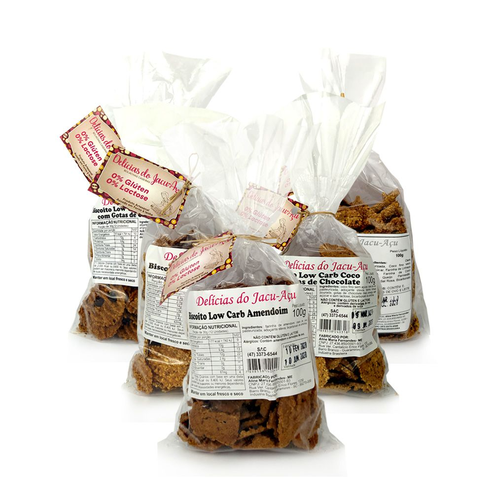 Kit Biscoitos Low Carb Delícias do Jacu-Açu (5 unidades)  - Tudo Low Carb