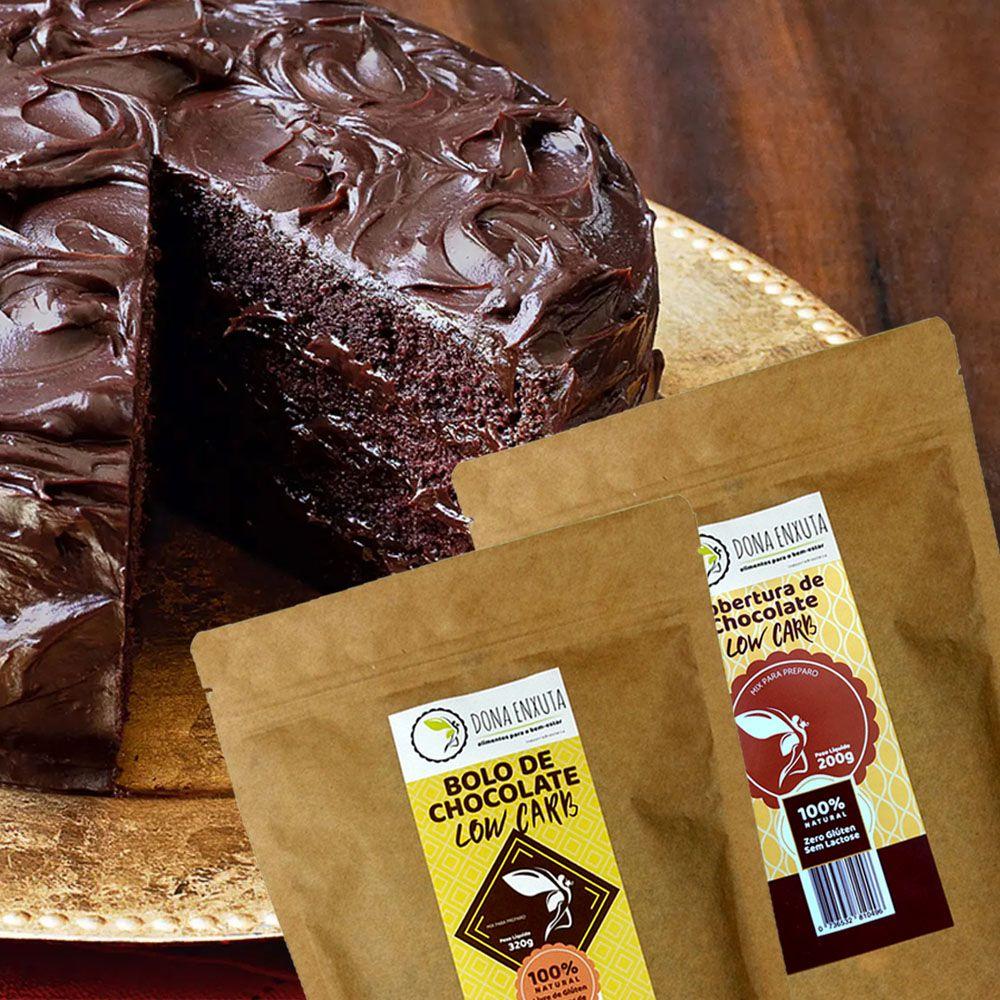 Kit Bolo e Cobertura de Chocolate Low Carb Dona Enxuta   - TLC Tudo Low Carb