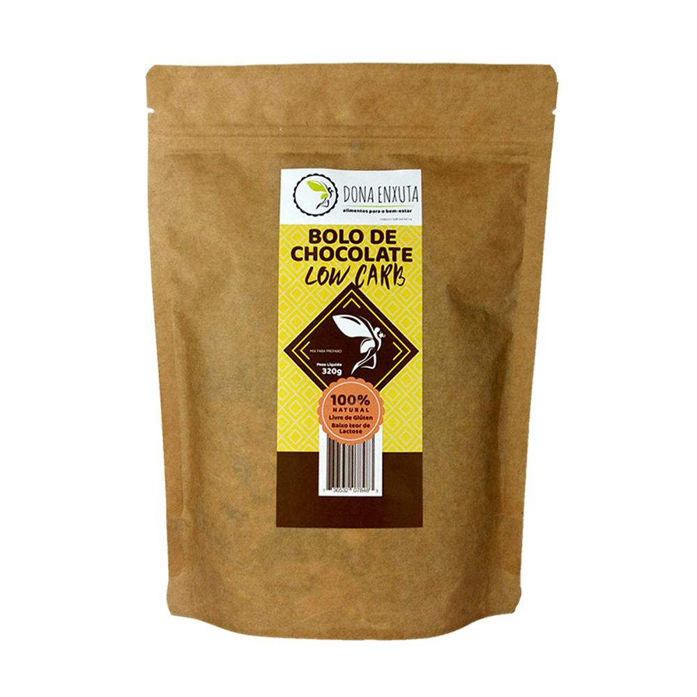 Kit Bolo e Cobertura de Chocolate Low Carb Dona Enxuta   - Tudo Low Carb