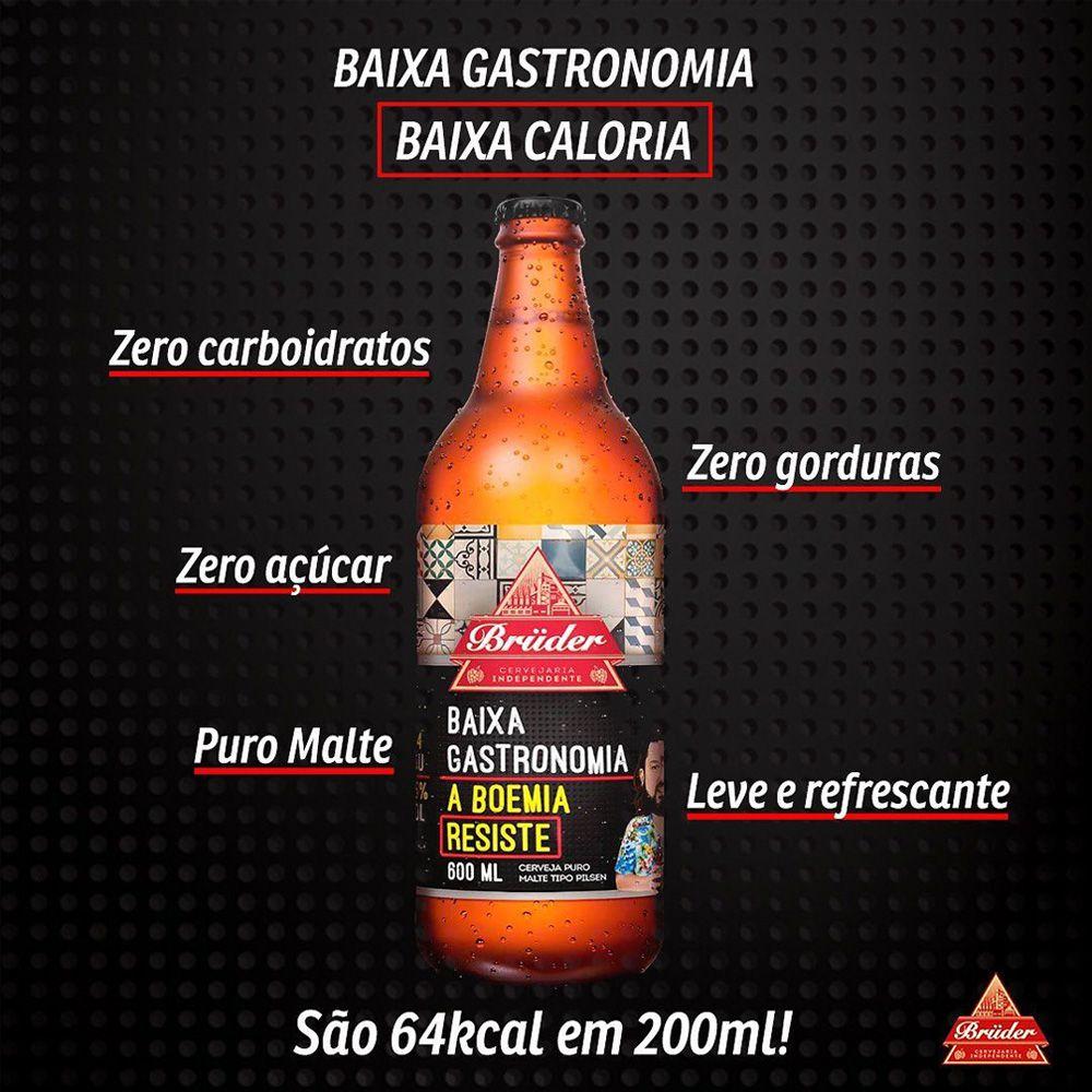 Kit Cervejas Baixa Gastronomia Bruder 600 ml (6 unidades)  - Tudo Low Carb