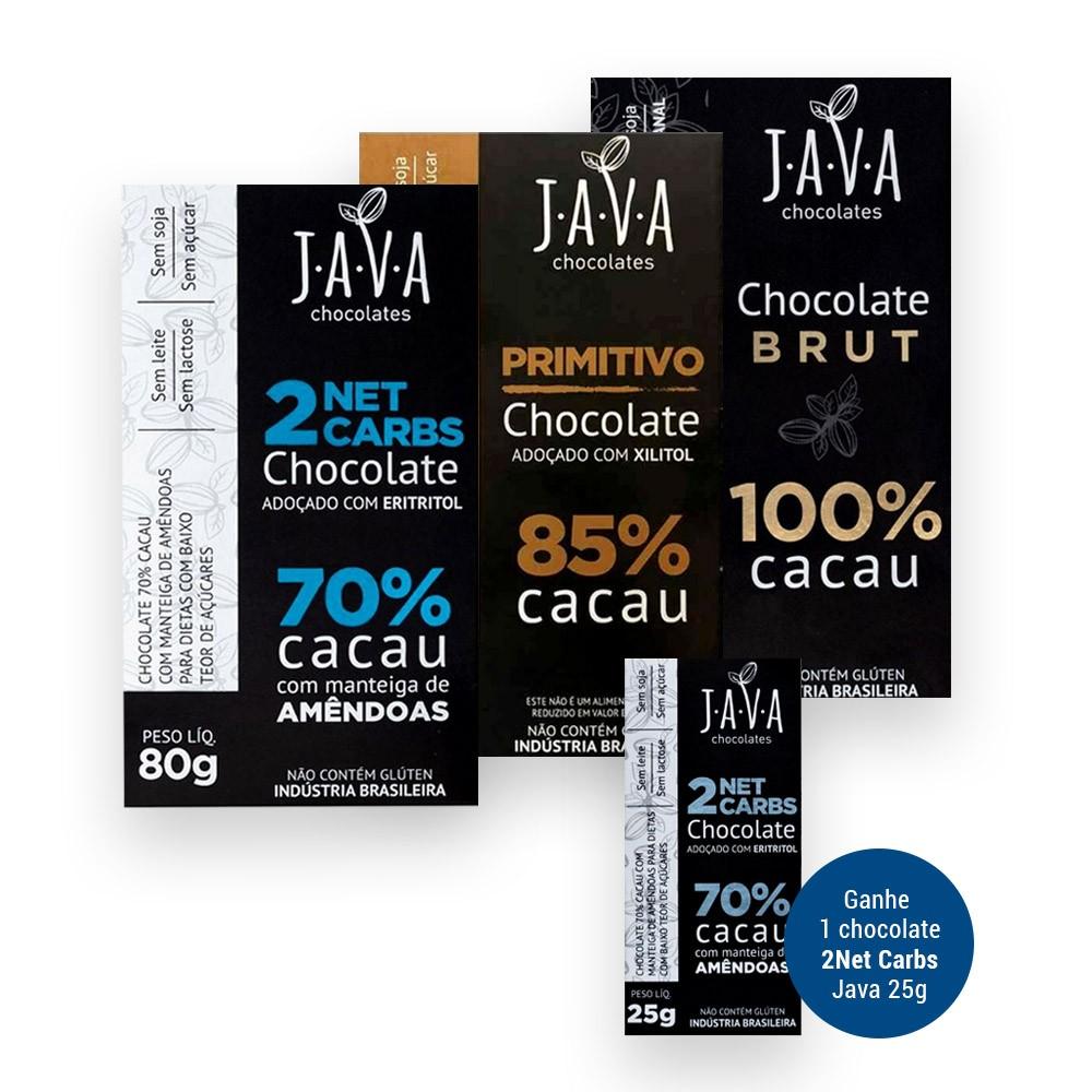 Kit Experiência Java Chocolates 3 Barras de 80g (Grátis 2 Net Carbs 25g)  - Tudo Low Carb