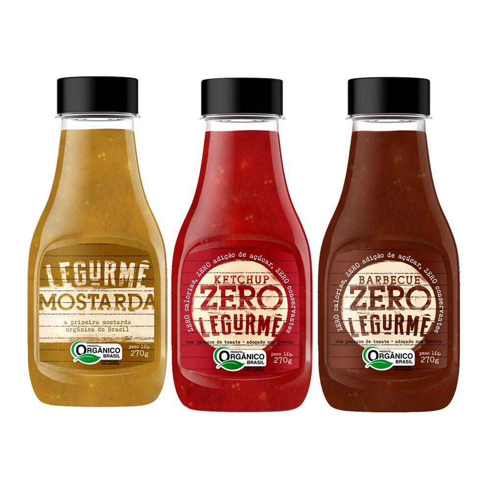 Kit Molhos Orgânicos Legurmê - Ketchup, Mostarda e Barbecue  - Tudo Low Carb