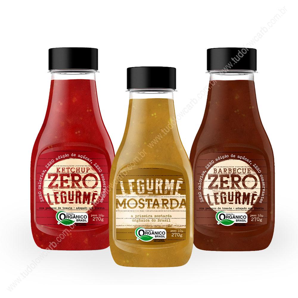 Kit Molhos Orgânicos Legurmê - Ketchup, Mostarda e Barbecue  - TLC Tudo Low Carb