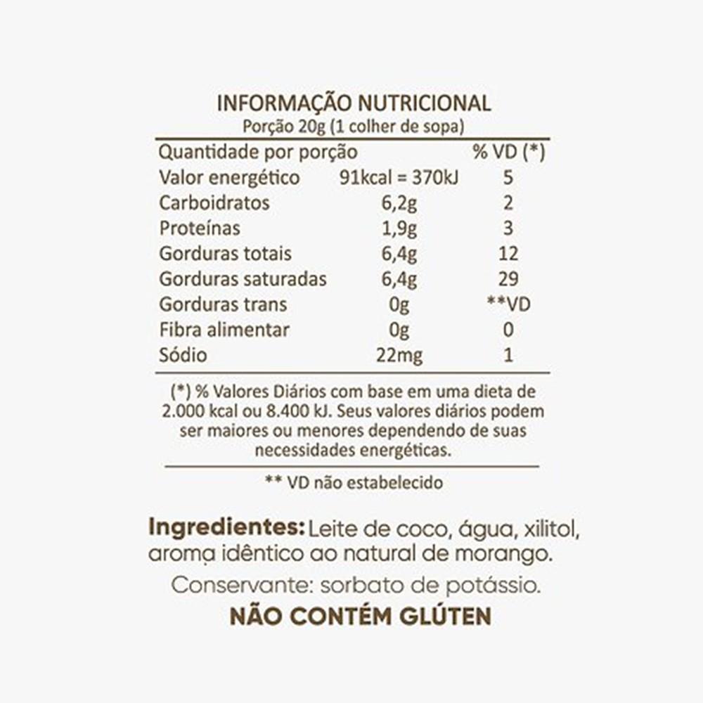 Leite Condensado de Coco Com Morango Sem Açúcar Cocodensado 200ml  - TLC Tudo Low Carb