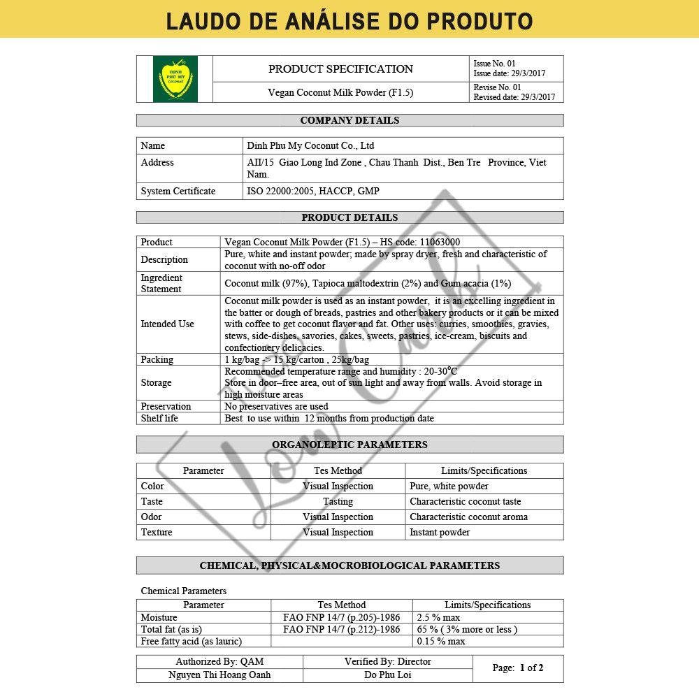 Leite de Coco em Pó Premium - Low Carb (com Laudo Técnico) 100g  - Tudo Low Carb