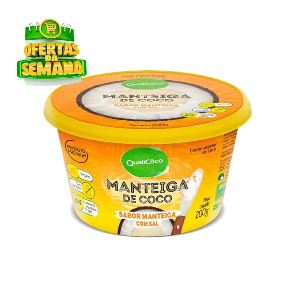 Manteiga de Coco com Sal Sabor Manteiga Qualicoco 200g  - TLC Tudo Low Carb