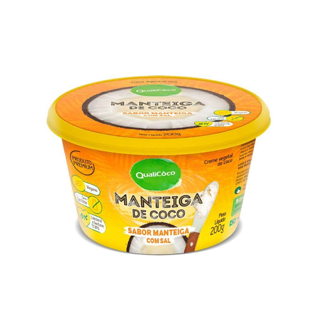 Manteiga de Coco com Sal Sabor Manteiga QualiCôco 200g  - Tudo Low Carb