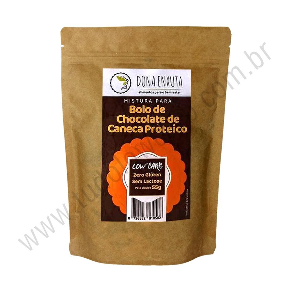 Mistura para Bolo de Chocolate de Caneca Proteico Dona Enxuta 55g  - TLC Tudo Low Carb