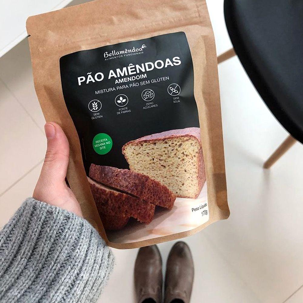 Mistura para Pão Amêndoas e Amendoim Bellamêndoa 170g  - Tudo Low Carb
