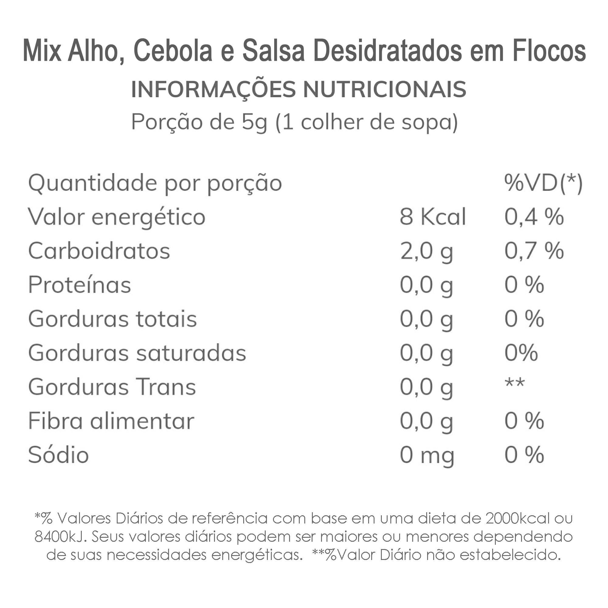 Mix de Alho, Cebola e Salsa Desidratados em Flocos 200g  - TLC Tudo Low Carb