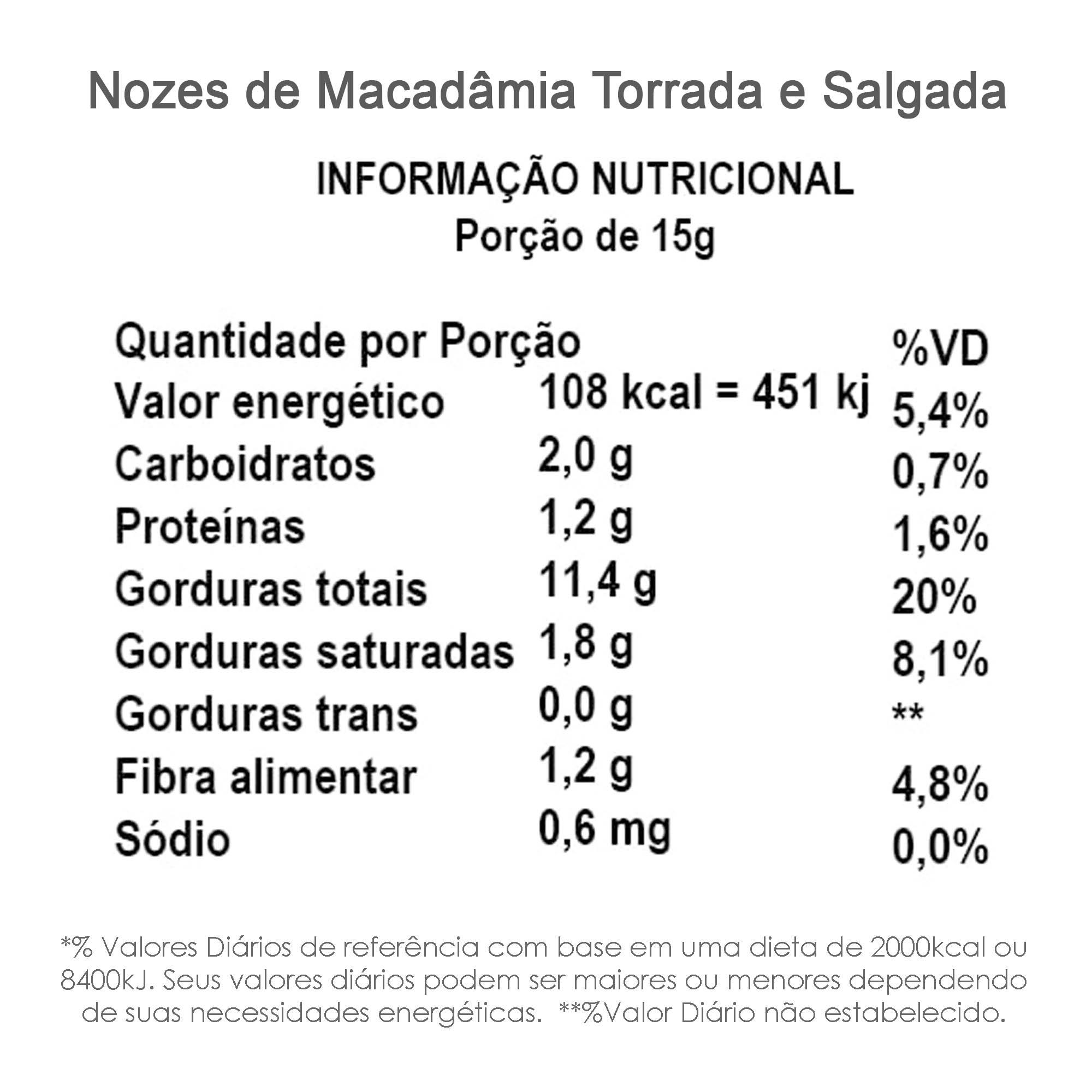 Nozes de Macadâmia Torrada e Salgada 100g  - TLC Tudo Low Carb