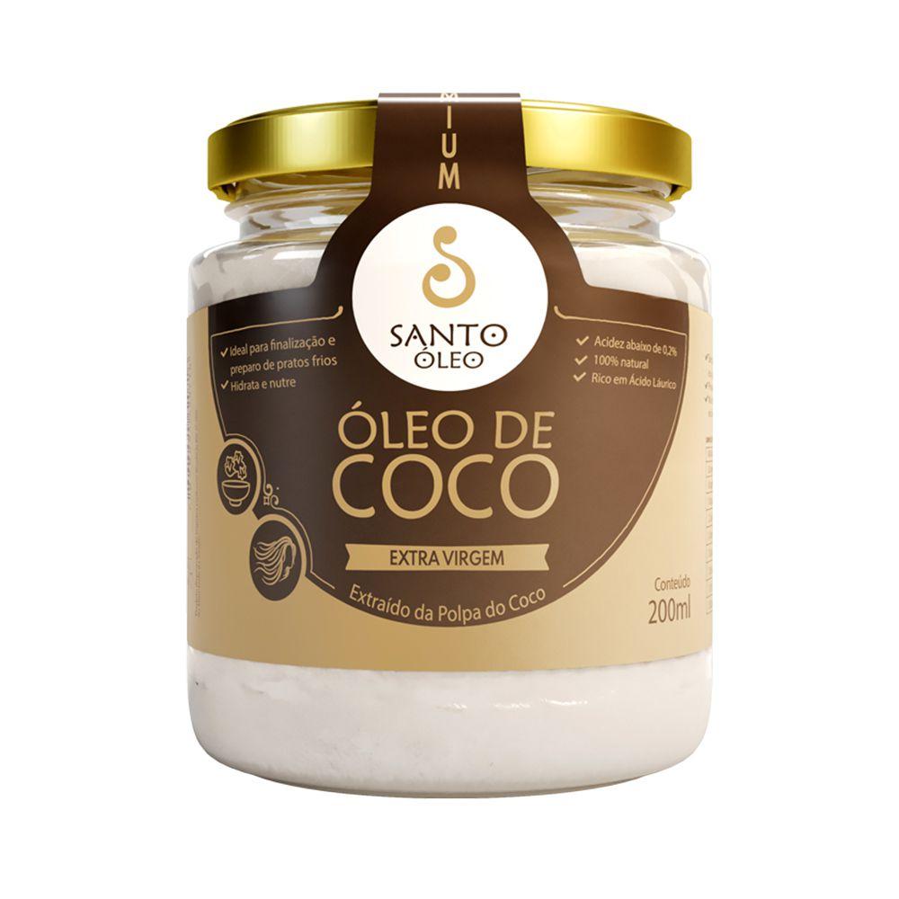 Óleo de Coco Extra Virgem (Polpa do Coco) Santo Óleo 200ml  - Tudo Low Carb