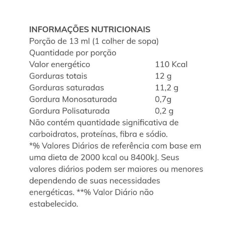 Óleo de Coco Extra Virgem (Polpa do Coco) Santo Óleo 200ml  - TLC Tudo Low Carb