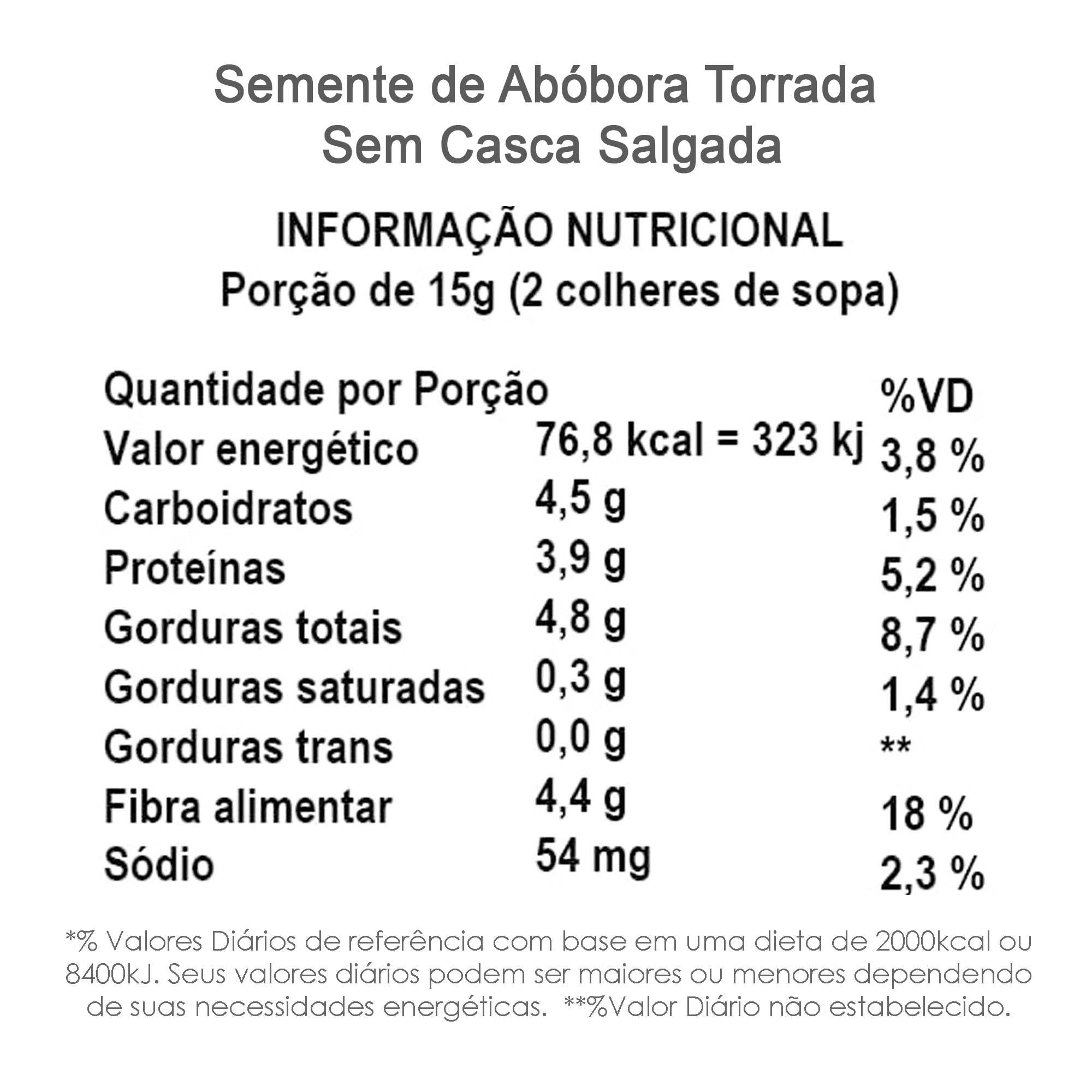 Semente de Abóbora Torrada Salgada (sem casca) 500g  - TLC Tudo Low Carb