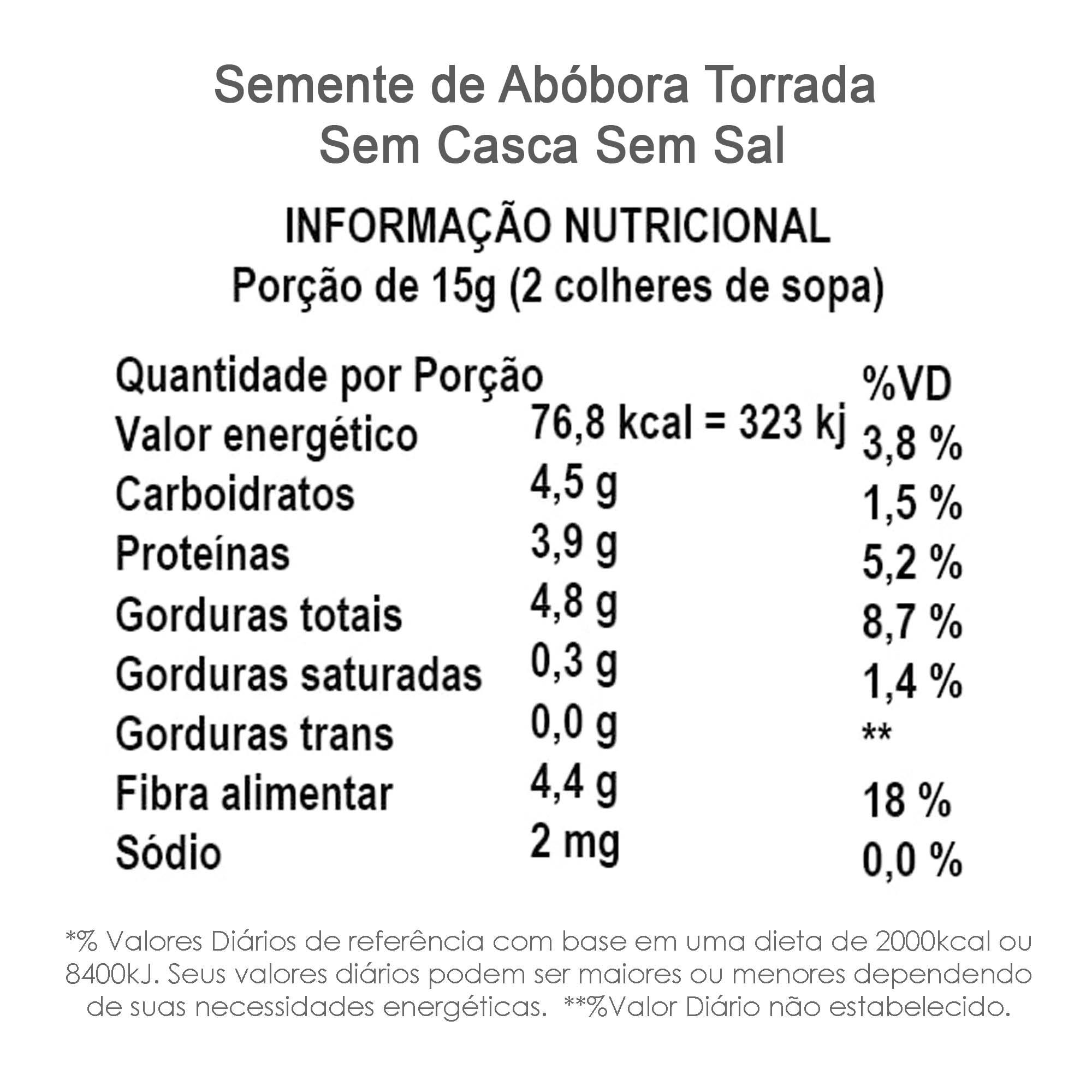Semente de Abóbora Torrada sem Sal (sem casca) 500g  - TLC Tudo Low Carb
