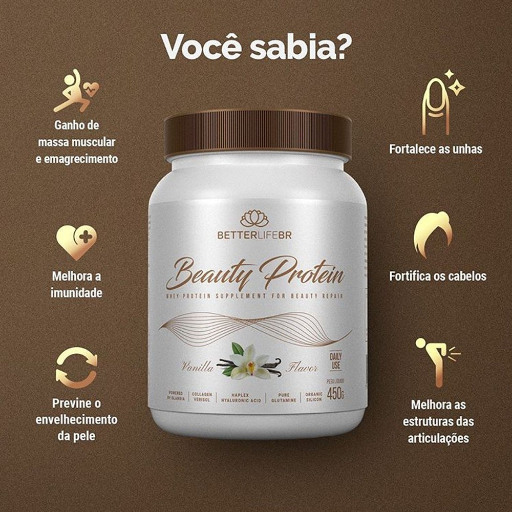 Whey Protein Beauty Protein Vanilla BetterLife 450g  - Tudo Low Carb