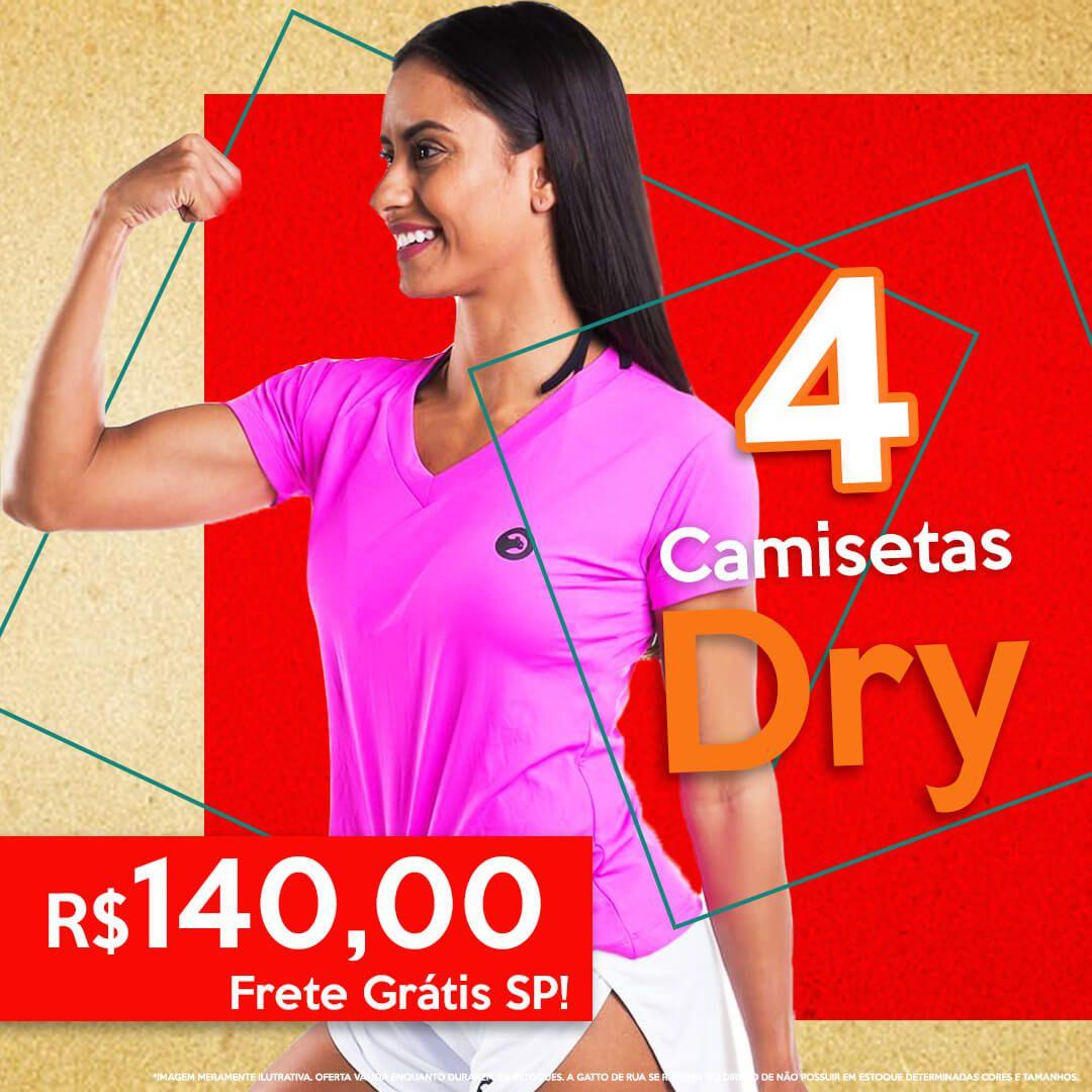 04 Camisetas Dry Fit Feminina Gatto de Rua
