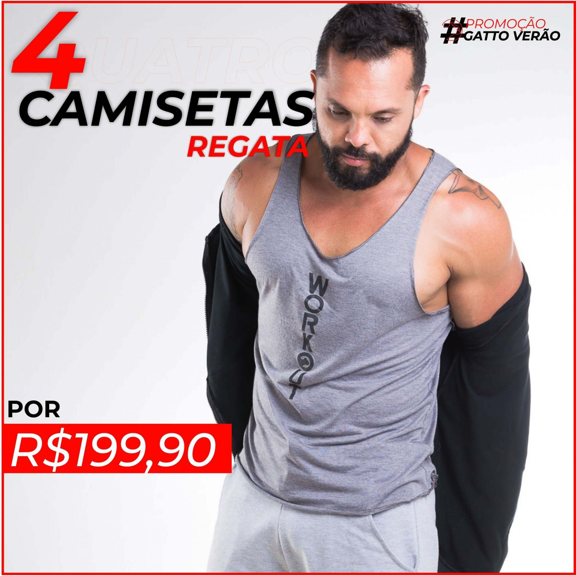 04 Camisetas Regata Masculina Gatto de Rua