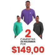 2 Camisetas UV Poliamida Manga Longa Masculinas