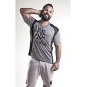 Camiseta masculina de  poliamida recortada mescla