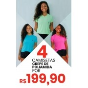 Kit  4 Camisetas Baby Look Crepe de Poliamida