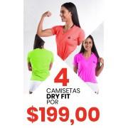 Kit Com 04 Camiseta Baby Look Dry Fit Poliamida -Feminina