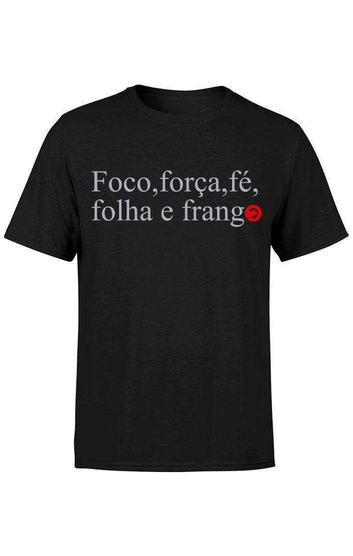 Camiseta Foco,Força e Fé - Preta