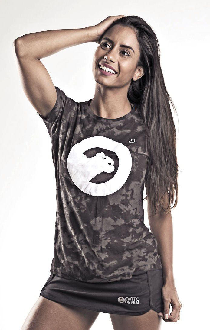 Camiseta  Algodão Camuflada Feminina
