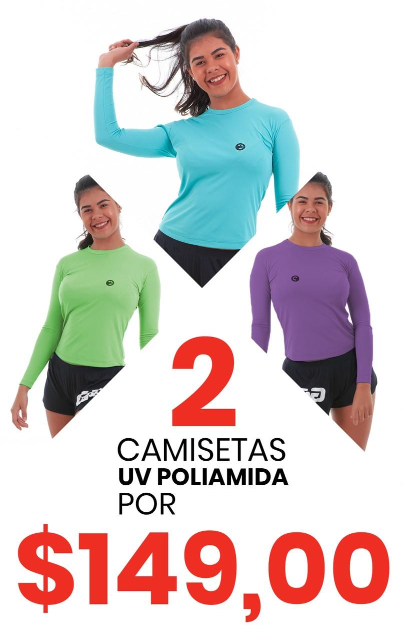 Kit 2 Camisetas Baby Look UV  Poliamida Manga Longa Feminina