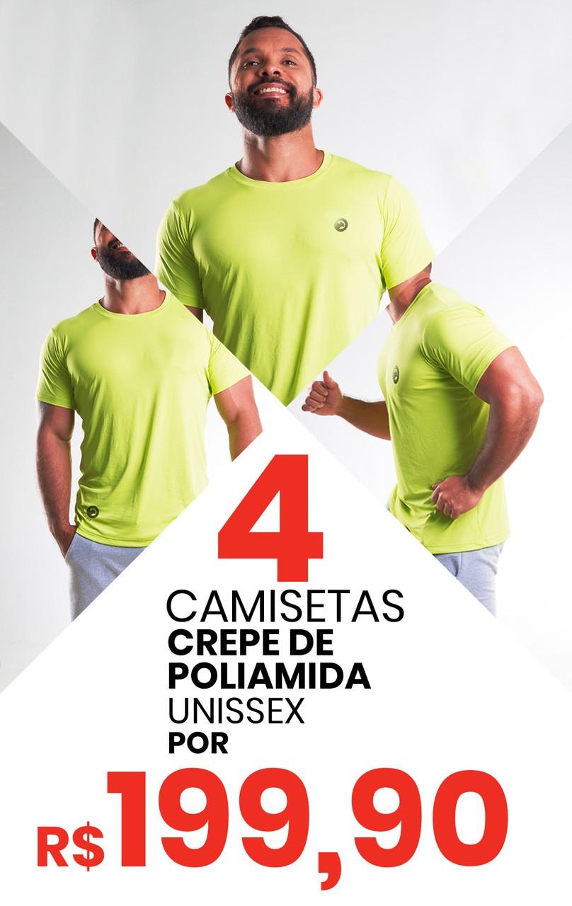 Kit 4 Camisetas Unissex Crepe de Poliamida