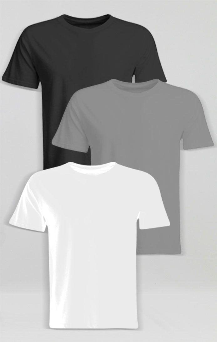 Kit camiseta Algodão basic 3 cores