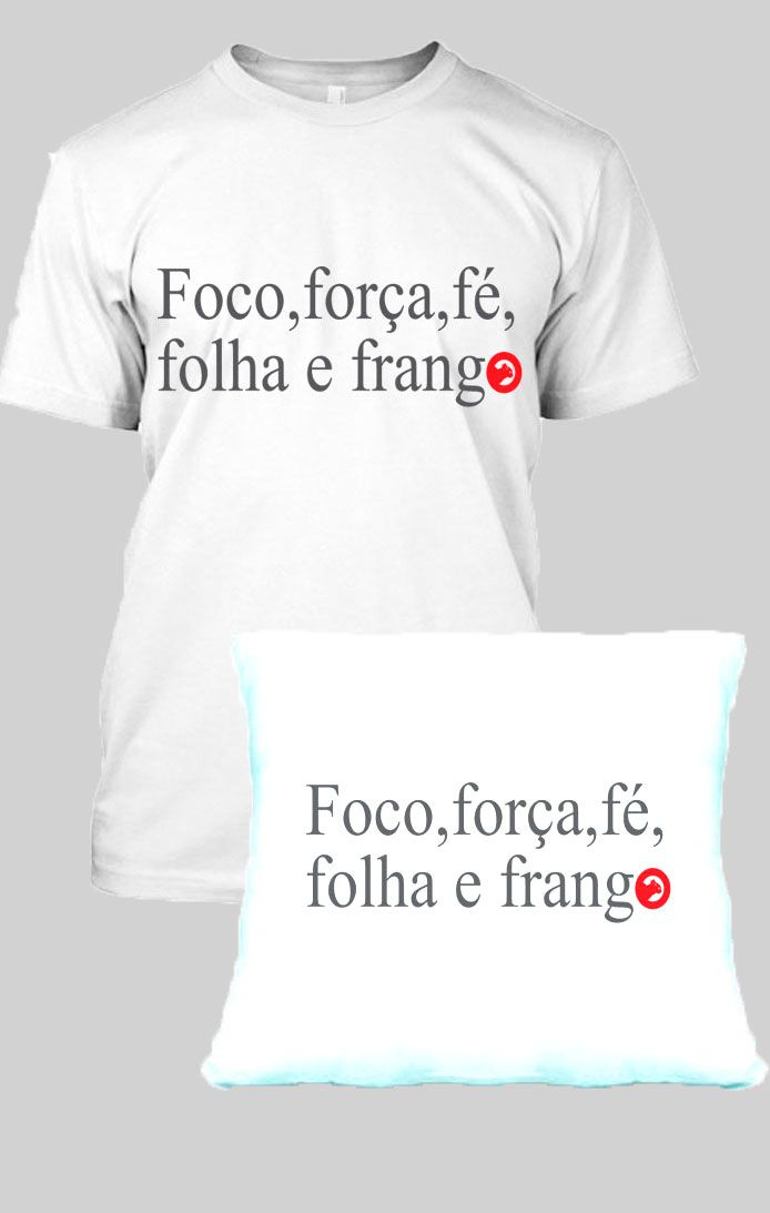 KIT CAMISETA MASCULINA FRASE FOCO, FORÇA, FÉ + ALMOFADA FRASE