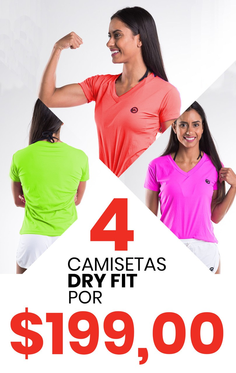 Kit Com 04 Camiseta Baby Look Dry Fit Poliamida -Feminina