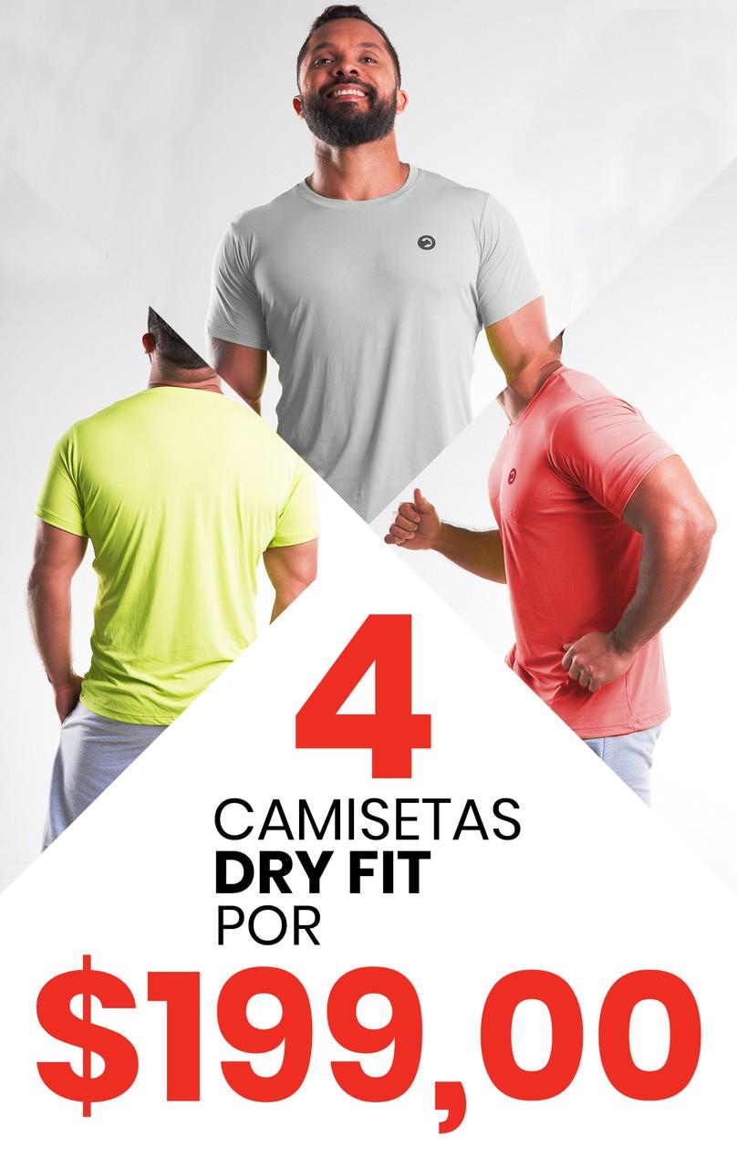 Kit com 04 Camisetas Dry Fit Poliamida Masculina