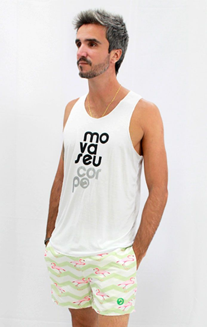 Shorts de Praia estampado Flamingo