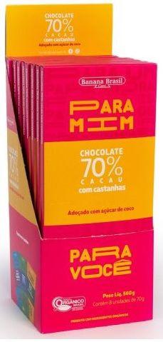 CHOCOLATE CASTANHAS 70 CACAU 70G DP 8 UNI