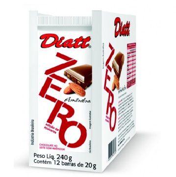 CHOCOLATE ZERO AO LEITE COM AMENDOA 20GR DP 12 UNID