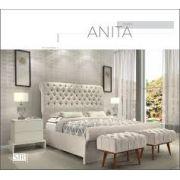 Cama Anita + Cabeceira Estofada Capitone + 2 puffs Anita