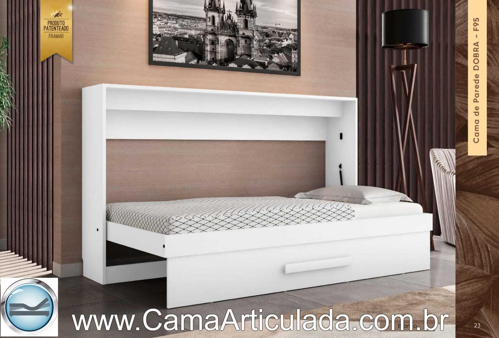 Cama Retrátil BASIC - Embutida Solteiro Horizontal SagaBrasil