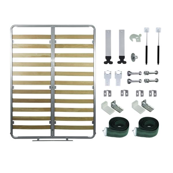 Kit de Ferragens para Cama Retrátil - Casal Vertical Linha Silver