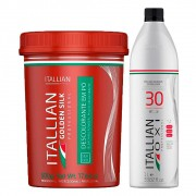 Kit Itallian Color Pó Descolorante Golden Silk + Oxi 30 Vol. 1000ml