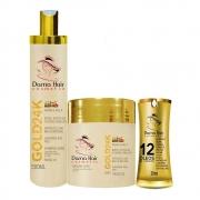 Kit Ouro 24k Reconstrução Dama Hair (3 Itens)